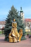 Statue of Countess Elisabeth Báthory on main square in Čachtice village. Slovakia stock photo