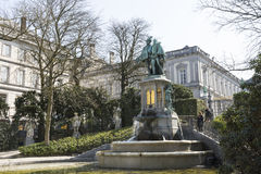 Statue of Counts Egmont and Hoorn in Brussels Stock Images