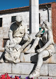Statue of a couple resting on the side of the Camino de Santiago in Spain Royalty Free Stock Image