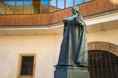 Statue in courtyard of Carolinum building of Charles University in Prague stock images