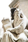 Statue covered by snow. A marble statue covered by snow in Rome, near Piazza di Spagna, a really rare event in Rome stock photography