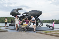 Statue of crabs in Krabi, symbol of Krabi town, Thailand Stock Photo