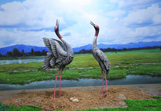 Statue cranes birds Royalty Free Stock Photo
