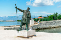 Statue of Croatian Duke Branimir who ruled in the 9th century at the entrance to the historic city of Nin, Croatia Stock Photography