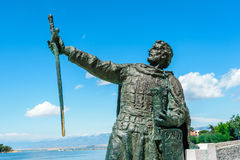 Statue of Croatian Duke Branimir who ruled in the 9th century at the entrance to the historic city of Nin, Croatia Royalty Free Stock Photos