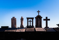 Statue and crosses on Montjuic Cemetery Stock Images