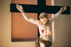 The statue of the crucified Christ on the cross Stock Image