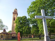Statue of Crucifixion and Orthodox church in Jagodina, Serbia. Statue of Crucifixion and the Orthodox church in Jagodina, Serbia. The church is dedicated to the stock photography