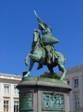 Statue of crusader hero in Brussels. Statue of Godefroid de Bouillon in Brussels on the 18-th century Royal Square. A national hero and famous crusader, once Stock Photos