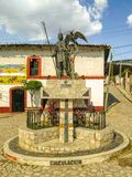 Statue of Cuauhtemoc in Ixcateopan. Main streets in Guerrero. Travel in Mexico. IXCATEOPAN, GUERRERO-JANUARY 13, 2019: A statue of Cuauhtemoc at a roundabout in stock photo