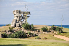 Statue on Cuba. Decorative stone statue on a field on the coast of cuba Stock Photography