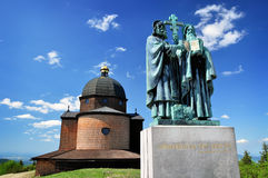Statue of Cyril and Methodius. Statue of saint Cyril and Methodius on Radhost, Czech pilgrimage place Stock Photography