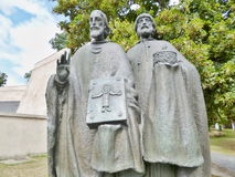 Statue - Cyril and Methodius. Cyril and Methodius, also called The two brothers and apostles of the Slavs and the Slavic Priors, including further action royalty free stock photo