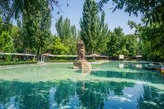 Statue d'étang de parc d'Erevan Oxakadzev image libre de droits