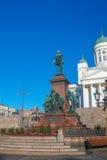Statue d'Alexandre II sur la place de sénat de Helsinki Photo stock