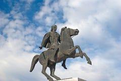 Statue d'Alexandre le grand à la ville de Salonique images stock