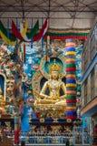 Statue d'Amitabha à l'intérieur de Vihara au monastère bouddhiste de Namdroling, Image stock