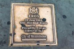 Statue d'amour d'eros au cirque de Piccadilly Londres, Royaume-Uni Images libres de droits