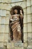 Statue d'Athéna dans le créneau de la porte de Peter en forteresse de Peter et de Paul à St Petersburg, Russie Image libre de droits