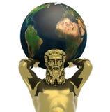 Statue d'or d'Atlante avec la terre Photographie stock libre de droits