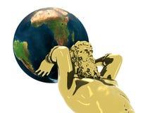 Statue d'or d'Atlante avec la terre Photographie stock