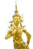 Statue d'or de Kinnon dans le temple vert de Bouddha Image stock