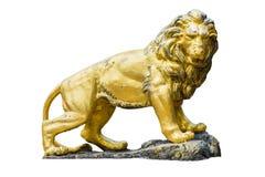 Statue d'or de lion d'isolement sur le fond blanc Photos libres de droits