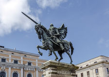 Statue d'El Cid à Burgos, Espagne Images stock