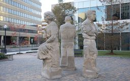Statue d'Eudora Welty, de Richard Wright et de William Faulkner Photos libres de droits