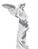 Statue d'un ange avec des fleurs d'isolement Photographie stock libre de droits