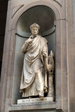 Statue of Dante in the courtyard of the Uffizi Gallery in Floren Royalty Free Stock Images