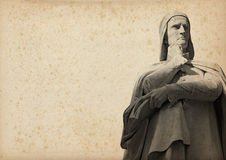 Statue of Dante on Yellowed Paper. Statue of Dante Alighieri (1265-1321) father of the Italian language on yellowed paper with spots stock illustration