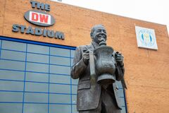 Statue of Dave Whelan with FA Cup DW Stadium Wigan Lancashire July 2019