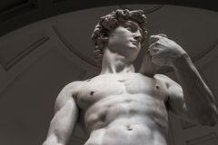 The statue of David is a bottom view without tourists royalty free stock photography