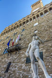 Statue of David in front of the Palazzo Vecchio Stock Photos