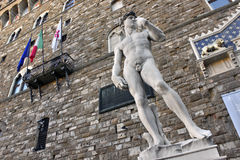 Statue of David. The statue of David by Michelangelo in front of the Palazzo Vecchio in Firenze, Italy Stock Photography