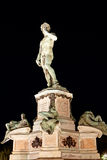Statue David Michelangelo, Piazzale, Florence, Italy night Stock Images