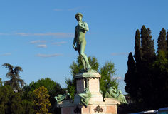 Statue of David by Michelangelo, replica. On piazzale Michelangelo in Firenze Florence Italy stock image
