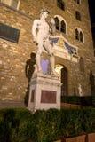 Statue of David at night in Florence on Piazza della Signoria, I Stock Image