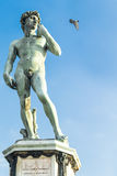 Statue of David. One of the copies of the famous statue of David by Michelangelo in Michelangelo square in Florence. Stands at the center of the square and the Royalty Free Stock Image