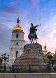 Statue de Bohdan Khmelnytsky de Hetman à Kiev Image libre de droits