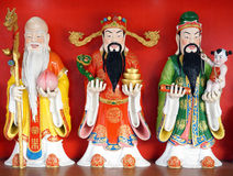 Statue de bonne chance (Fu, Hok), de prospérité (Lu, Lok), et de longévité (Shou, SIU) Photo stock