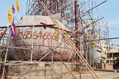 Statue de Bouddha avec le ciel bleu en construction Images libres de droits
