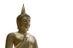Statue de Bouddha dans le temple thaïlandais d'isolement sur le fond blanc Images stock