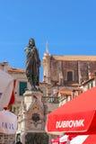 Statue de bronze de Dubrovnik Ivan Gundulic Photographie stock libre de droits