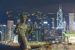 Statue de Bruce Lee en ville de Hong Kong Images stock