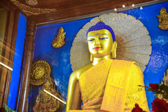 Statue de Buddhametta dans le temple de Mahabodhi Photographie stock