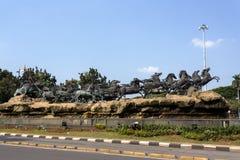 Statue de char d'Arjuna Wijaya à Jakarta Image stock