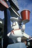 Statue de chef en dehors d'un wagon-restaurant, NY Image libre de droits