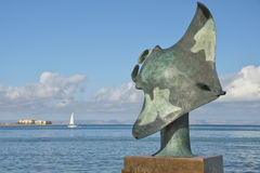 Statue de cuivre de Manta en La Paz Baja California Sur de mallejon photo stock